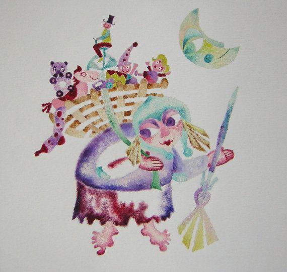 Befana. Illustrazione originale ad acquerello di di SaritaNanni, €500.00