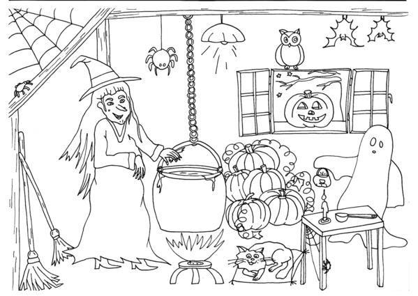 Coloriage Enfants Pour La Fete D Halloween Coloriage Halloween