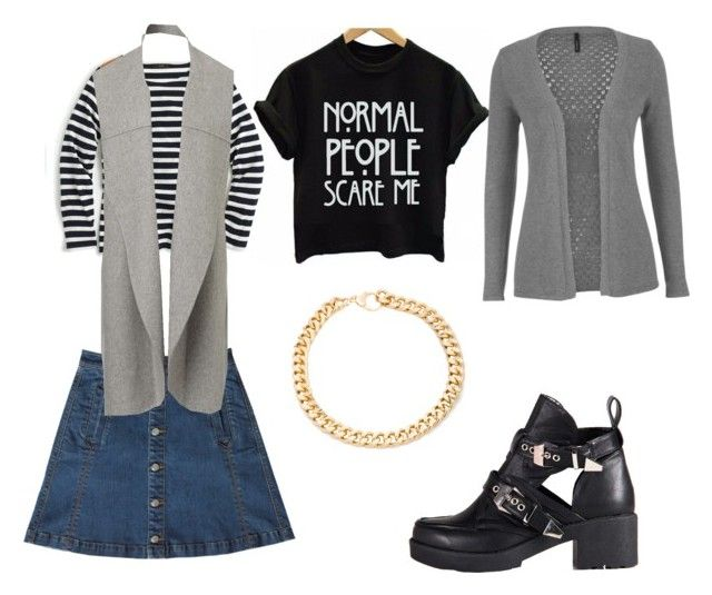 """""""Stripes &button skirt"""" by nattavr on Polyvore featuring moda, Bebe, J.Crew, maurices, Refresh y Alessandra Rich"""