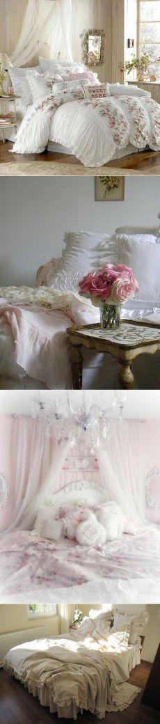 Романтические спальни, постельное белье в стиле шебби шик