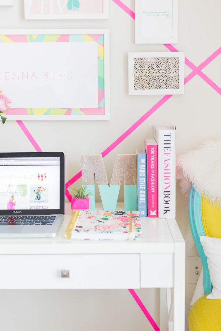 Bright neon home office and work space.