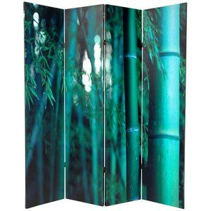 Oriental Furniture 70.88'' x 63'' Bamboo Tree Double Sided 4 Panel Room Divider