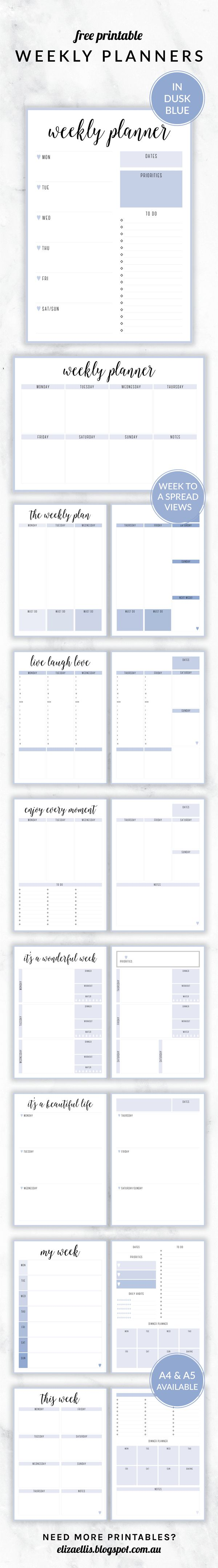 Free Printable Irma Weekly Planners in Dusk by Eliza Ellis. With nine different styles, they're the perfect organizing solution for mums, entrepreneurs, bloggers, etsy sellers, professionals, WAHM's, SAHM's, students and moms. Available in 6 colors and both A4 and A5 sizes. Includes week to a page planners as well as week to a spread and two page planners. Enjoy!