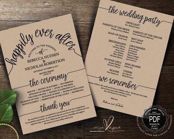 Wedding Program Template #A011 you personalize at home. Navy Ceremony Program Printable Wedding Program Printable Editable PDF