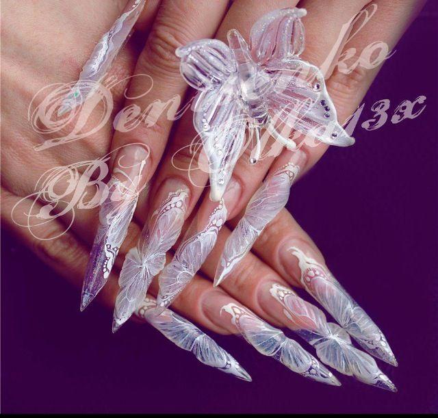Clear 3D  Acrilic nails Stiletto