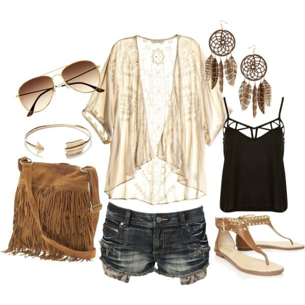 Dream Catcher Earrings, Studded Sandals, Fringe Purse, Aviators: Hippie Outfit