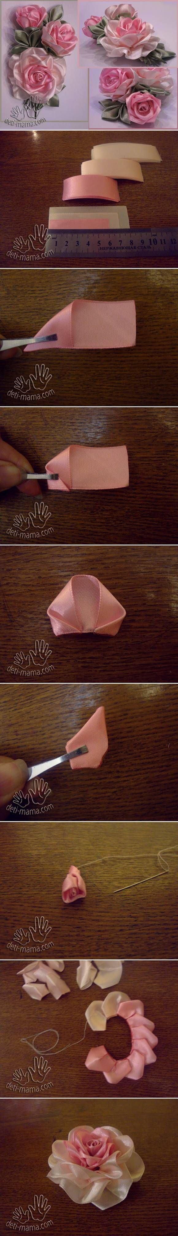 DIY Beautiful Satin Ribbon Rosette #craft #sewing #ribbon_flower