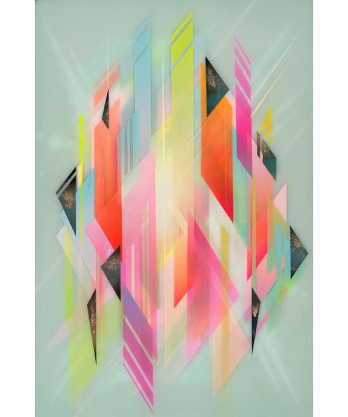 Italian artist Francesco Locastro currently creates some fantastic geometric layered paintings from his home base of southern Florida. Starting with wood, he layers spraypaint, epoxy resin, acrylic, and even gold leafing until he achieves an almost 3D, floating effect. I can only imagine how time-consuming each piece must be.