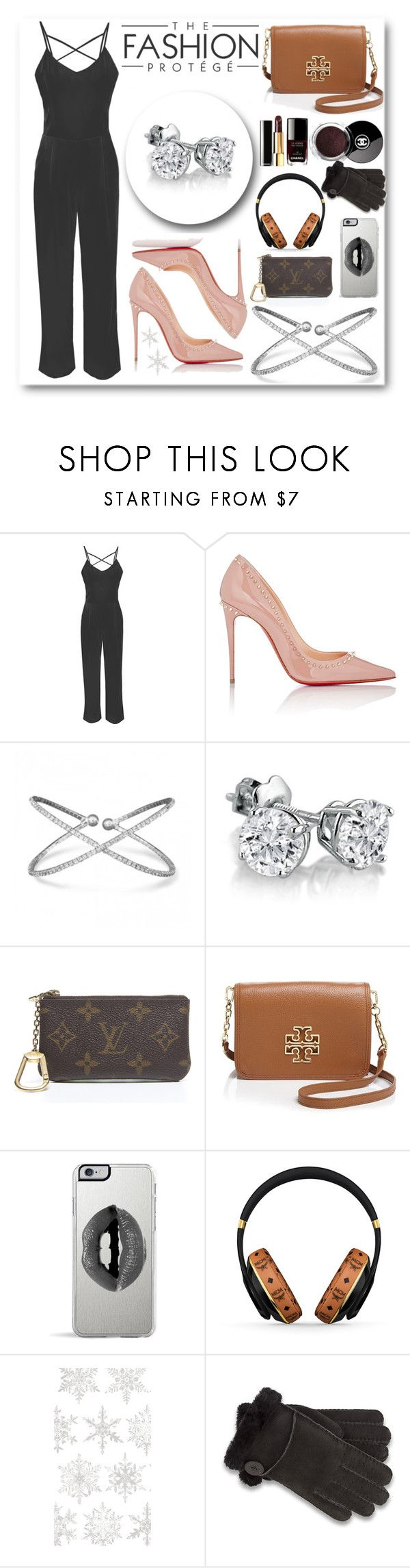 """""""Fall Fashion featuring a formal jumpsuit"""" by mlgjewelry ❤ liked on Polyvore featuring Glamorous, Christian Louboutin, Amanda Rose Collection, Louis Vuitton, Tory Burch, Chanel, Lipsy, MCM, Caspari and UGG"""