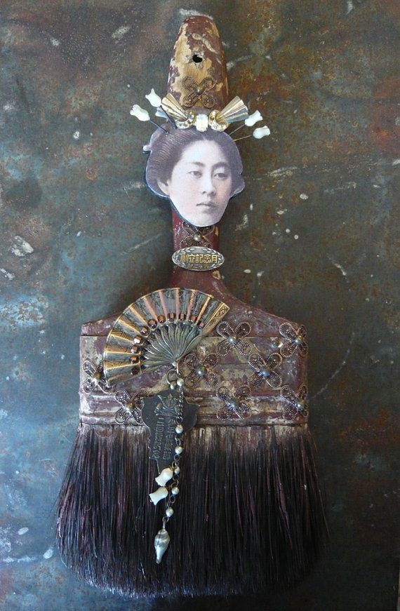 Introducing Fanny, one of the series of paintbrush dolls from Rosaritaville. She is made from an old 4 x 10 1/2 paintbrush. Fanny is Rosaritavilles