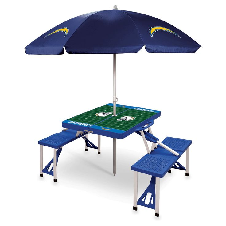 Los Angeles Chargers Picnic Time Picnic Table with Umbrella