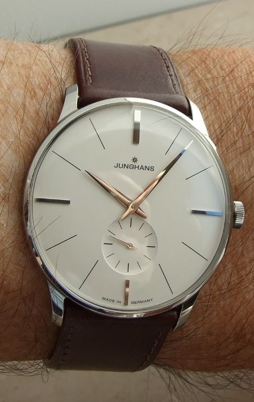 Super crisp watch dial and a nice looking leather strap, too. The Junghans Meister Handwind.