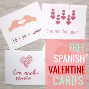 Free Valentine's Cards in Spanish