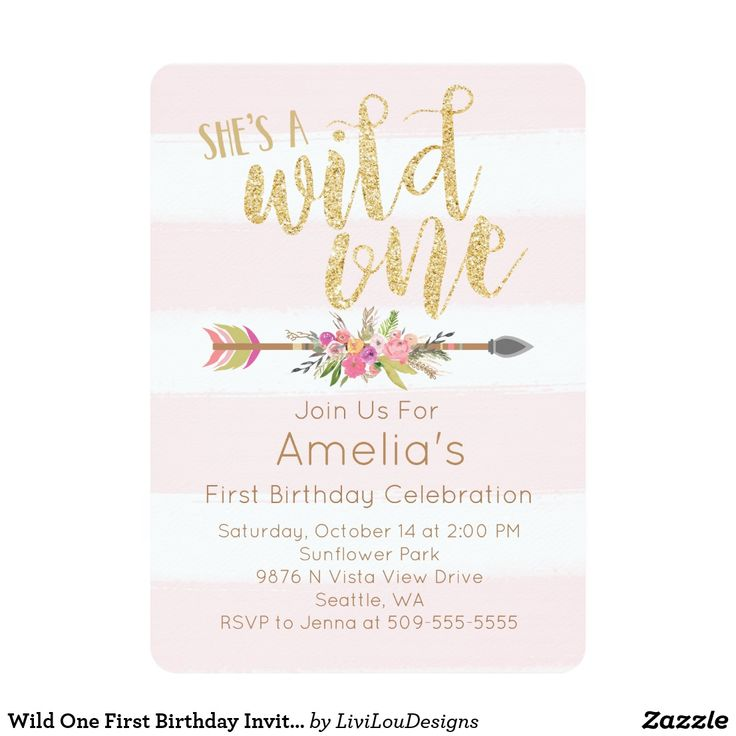 Wild One First Birthday Invitation This pink and gold first birthday invitation is perfect for your little wild one! Please note no actual glitter is used. Invitation is made with a glitter texture to resemble glitter when printed. Glitter texture looks beautiful and realistic when printed. Check out Livi Lou Designs for more beautiful things! Fun birthday party invites - customize your invitations. #birthdayparty #invites #invitations