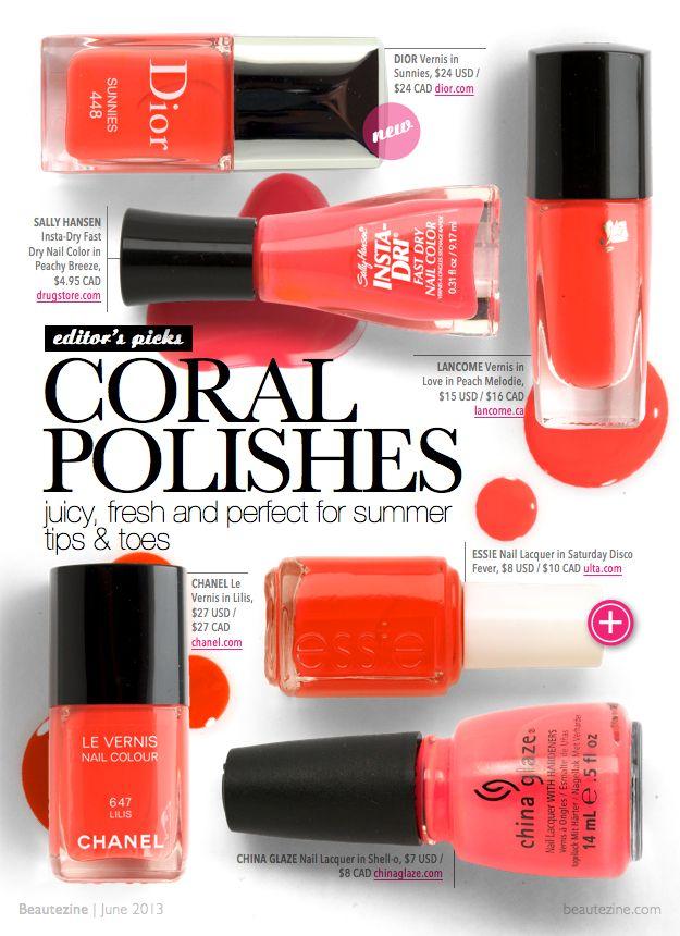 Beautezine | Editor's Picks: 6 Coral Nail Polishes for Summer 2013
