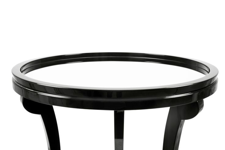 5TH is a handcrafted solid wood side table with a grey mirror top.