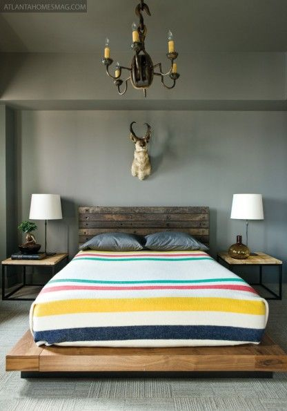 From Atlanta Homes & LifestylesWall Colors, Rustic Bedrooms, Bed Frames, Animal Head, Grey Wall, Beds Frames, Platform Beds, Blankets, Hudson Bays