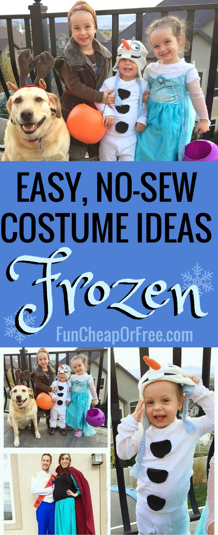 Easy, cheap, DIY Frozen Costume! No-Sew Halloween costumes for the whole family, so easy to put together! Here's how we did it...
