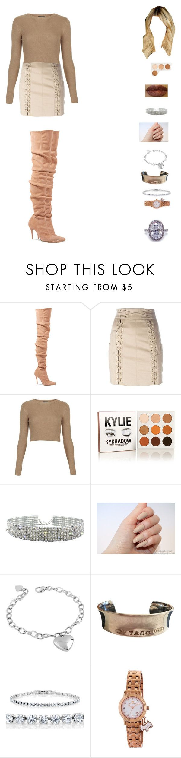 """""""kylie jenner fall look"""" by unicorn-923 ❤ liked on Polyvore featuring Balmain, Topshop, Kylie Cosmetics, West Coast Jewelry, Tiffany & Co. and Radley"""