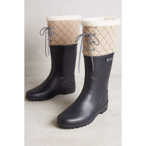 Aigle Polka Giboulee Boots ($150) ❤ liked on Polyvore featuring shoes, boots, marine beige, roll up shoes, slipon boots, slip on boots, slip on shoes and wellington boots