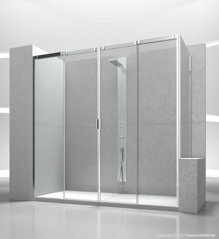 Sliding shower enclosure with fixed panel for shower tray positioned next to a bath tub or a low wall. Shower enclosures Slide by @vismaravetro | V4+VP