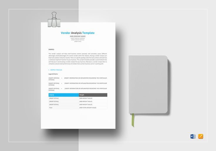 Vendor Analysis Template  $9.99  Formats Included : MS Word, Pages File Size : 8.27x11.69 Inchs, 8.5x11 Inchs  Pages :4 #VendorAnalysis  #Documents #Documentdesigns #Analysis #AnalysisTemplates