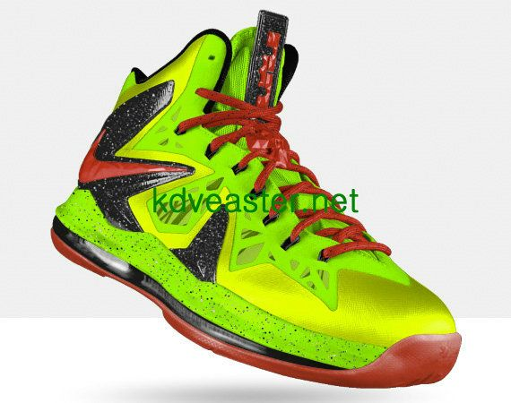 Credit guarantee that all pictures in - kind shooting, please rest assured  to buy Nike LeBron X PS Elite Electric Green Sport Red