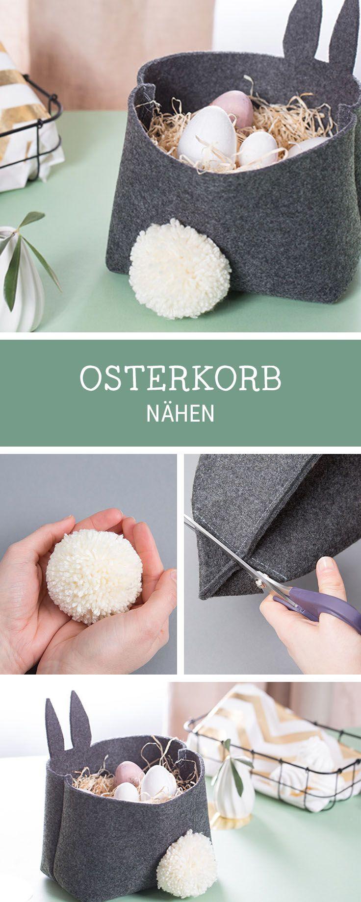 Oster-DIY: Nähanleitung für ein Osterkorb aus Filz, Ostedeko selbermachen / handmade Easter decoration: how to sew an Easter basket via DaWanda.com