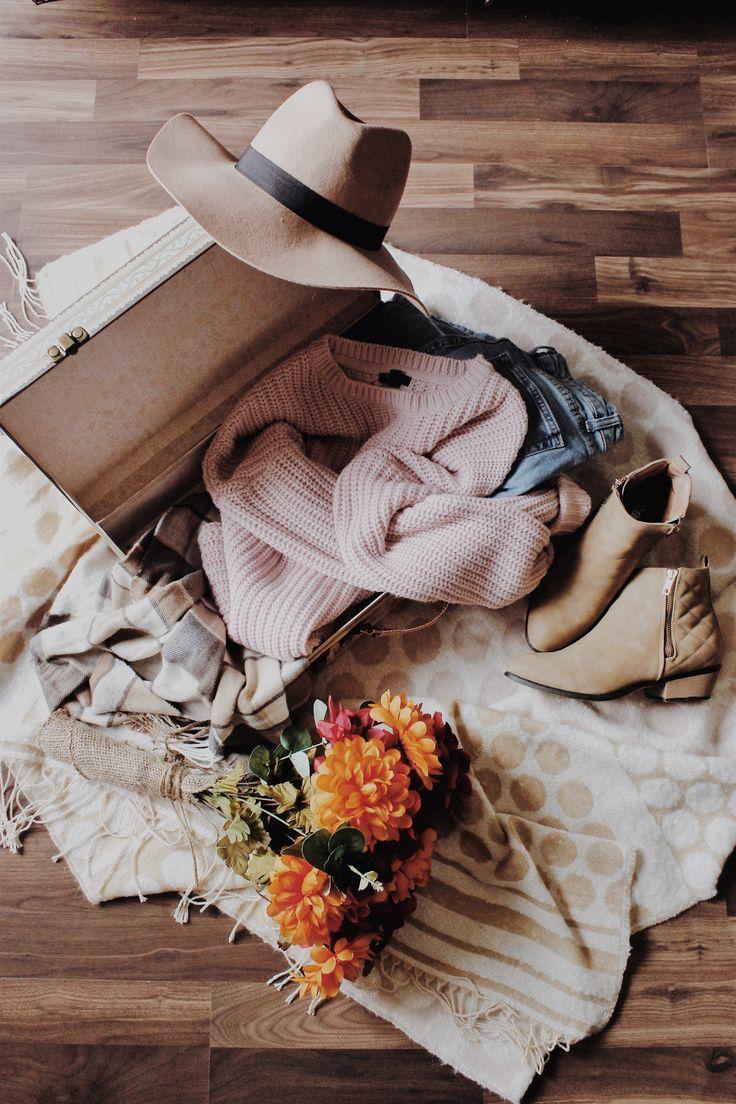 ↠ All things fall 🍂 // #fall #fallfashion #fallstyle #autumn #fashion #style #flatlay #sweater #boots
