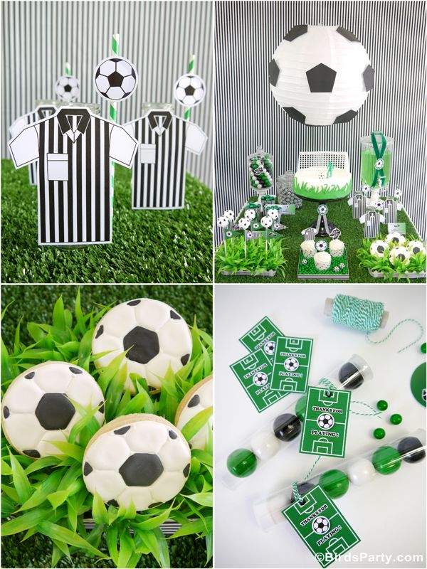 Football or Soccer birthday party Ideas with DIY decorations, printables and food and favors! - BirdsParty.com @birdsparty
