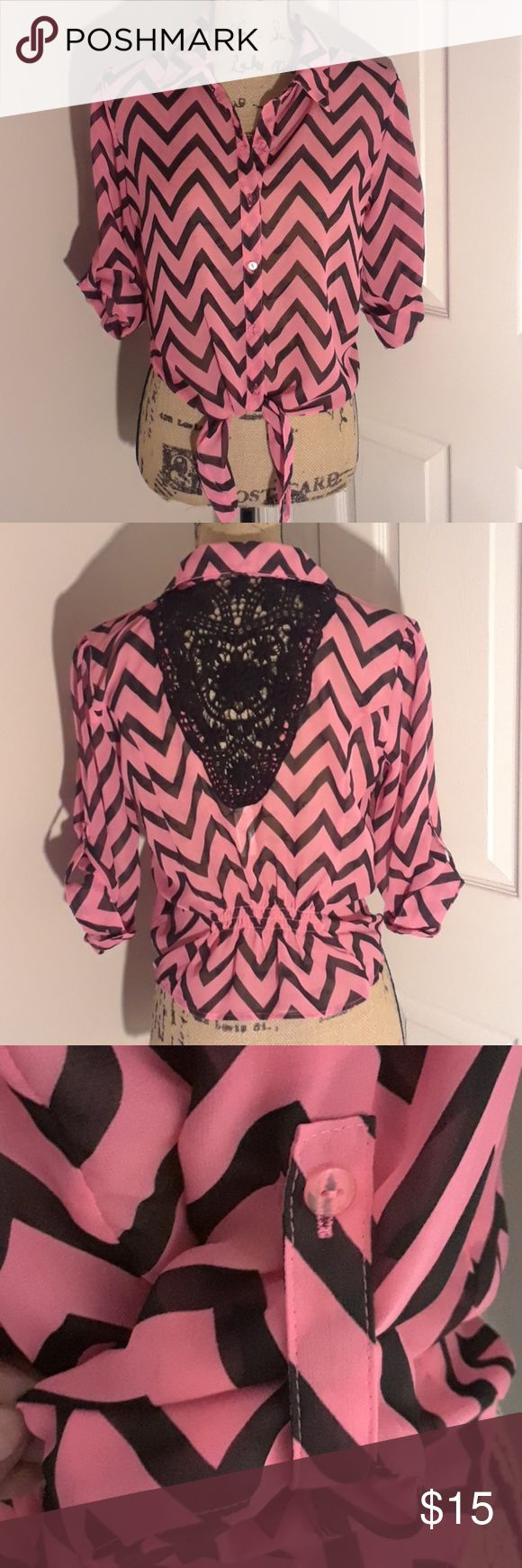 Coral Chevron Blouse Preowned, still in like new condition without any pulls or markings as shown in pictures No Boundaries Tops Blouses