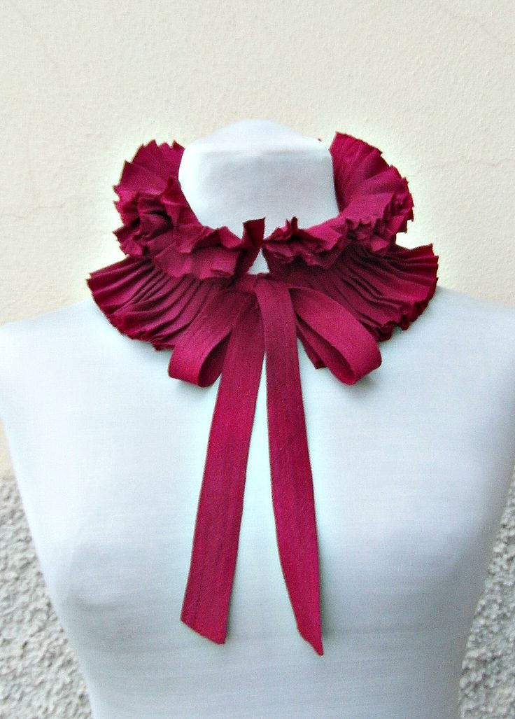 Detachable collar/ ruffle collar/ pleated collar/ scarf/ boa/ Christmas gift/ gift for her/ burgundy accessory/ accessory for dress/ NEW by dimarena on Etsy