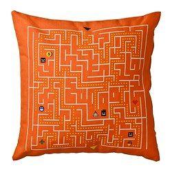 SLINGRIG Pute, hvit, oransje - hvit/oransje - IKEA