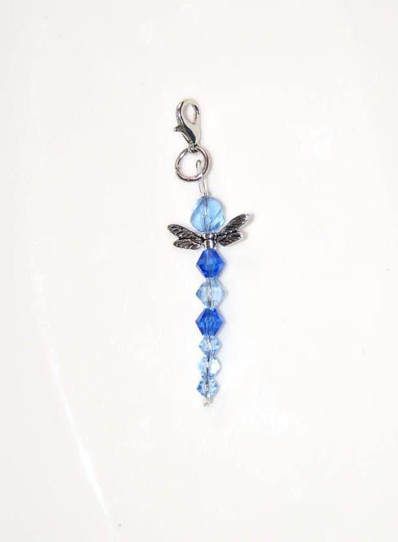 Anhänger saphir blau silber Libelle 7cm aus Glas Kristall Charm