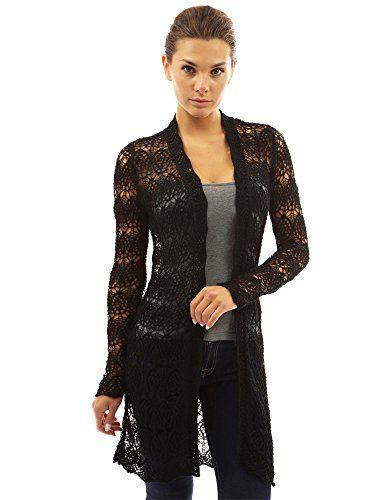 PattyBoutik Women's Open Stitch Crochet Lace Cardigan (Black XL)