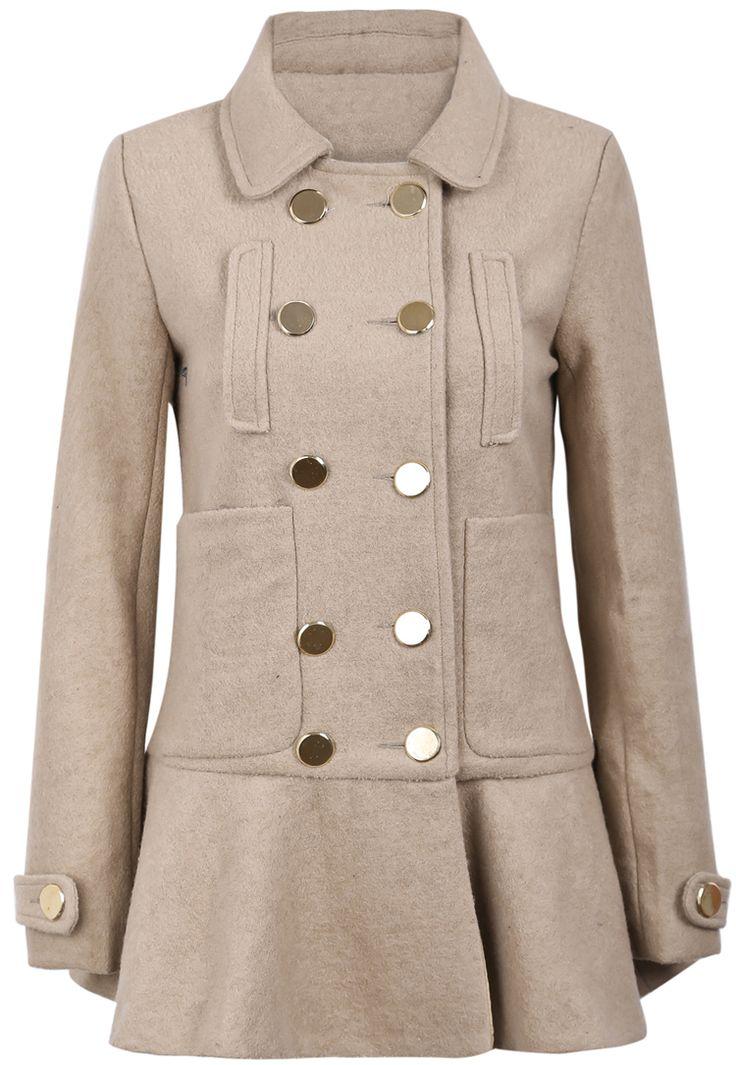 Khaki Lapel Long Sleeve Double Breasted Ruffle Coat US$45.99