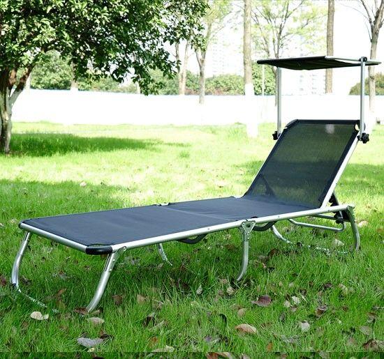 Chaise longue transat bain de soleil pliant avec pare-soleil en aluminium noir neuf - Aosom.fr - Aosom.fr