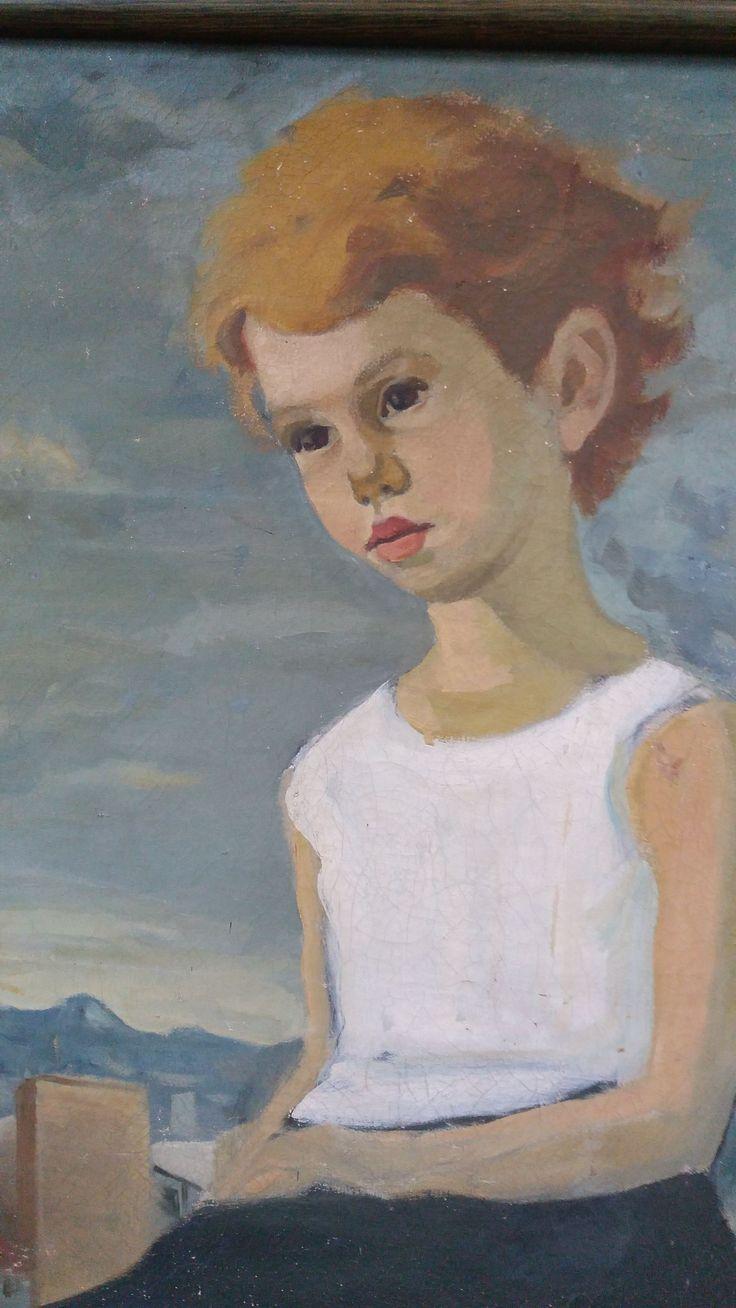 """RESTAURACIÓN  Y  MODIFICACIÓN...   Esta pintura que tiene 60 años de ´pintada, me fue entregada para """"arreglarle las manos"""" ... a continuación foto de mi solucion..."""