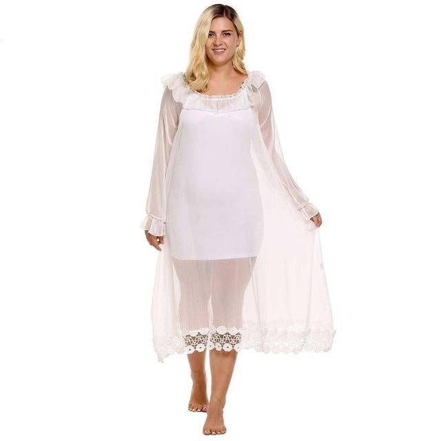 Large Size 4XL Sleepwear Nightwear Dress Women Long Sleeve Ruffle Lace Nightgown Sexy Long Nightdress Nighty Sleep Clothing XXXL