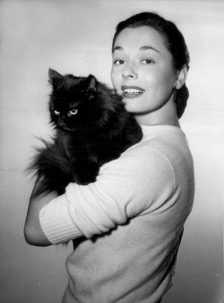 Ruth Roman with black cat