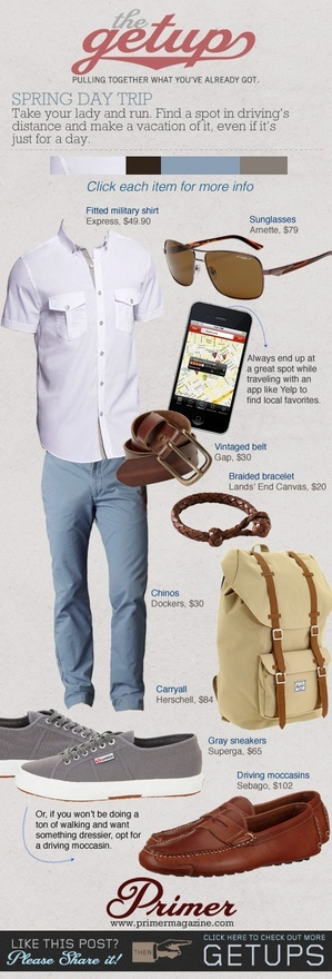 Those leather loafers would be great! The Getup: Spring Day Trip.