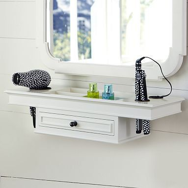 great vanity idea: It solves so many problems with irons, dryers, and makeup without taking up counter space. Love it!