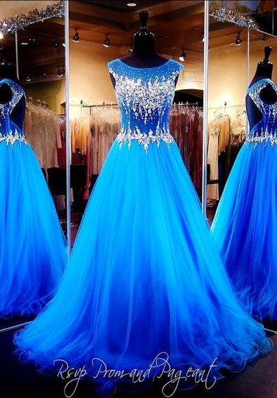 $189-Royal Blue Crystals Luxury Prom Dresses Capped Sleeves Sheer Hollow Back A-line Pageant Dresses