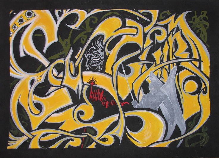Soulguard-beat the beast  2002  50*70  tempera on paper  SOLD