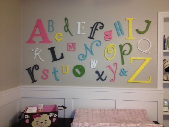 Wooden Alphabet Letters Alphabet Wall - ABC Wall -Alphabet Set - Wooden Letters - Unfinished, Unpainted Varying Sizes on Etsy, $64.95