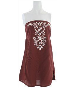 Woven bandeau style dress w/ center front embroidery  Billabong Sacrifice Dress Dark Coco  -Center back smocking  -Shirring below bust  -Mid thigh length   $46.00: Bandeau Style, Style Dresses