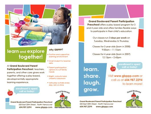 19 best images about preschool flyer design ideas on for Preschool brochure template