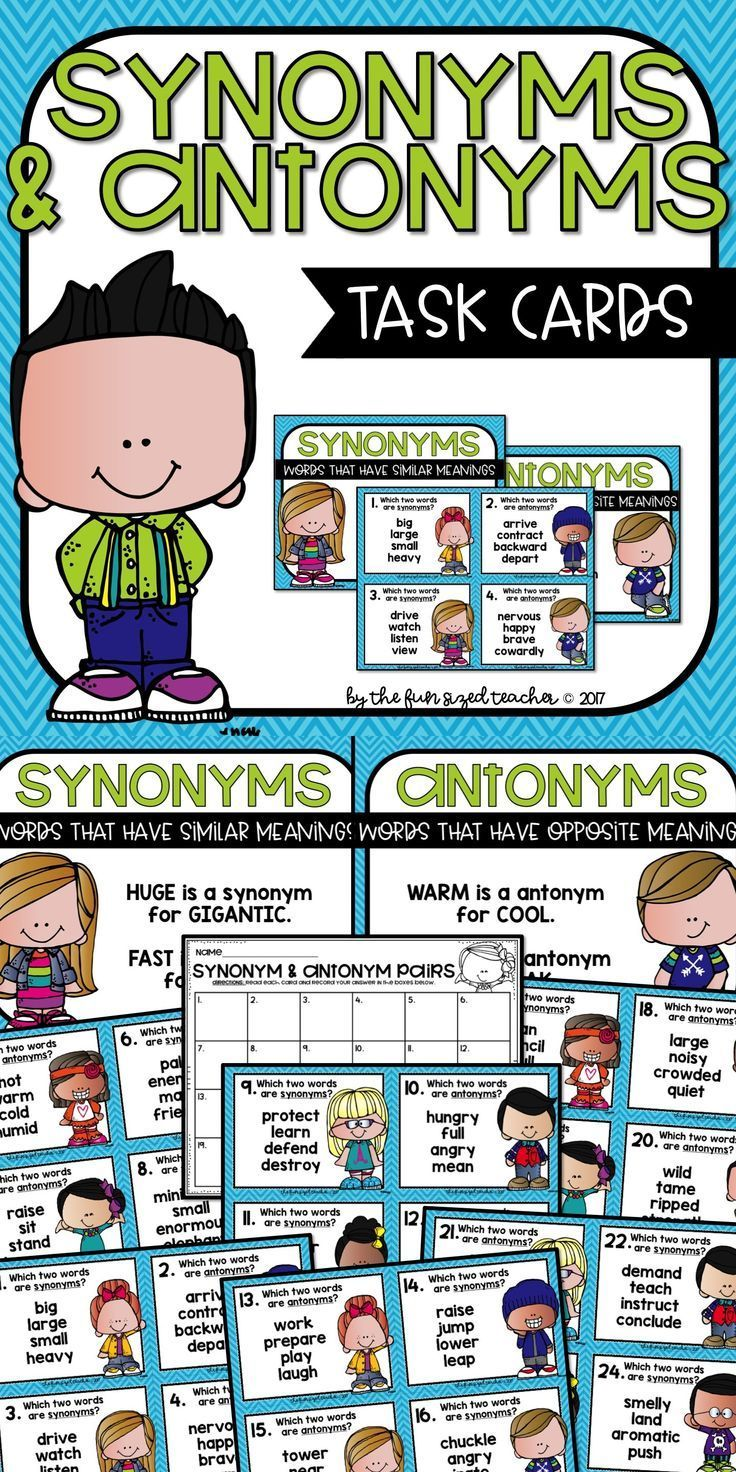 Synonym And Antonym Task Cards For Grades 4 6 Includes Anchor Charts 24 Task Cards Plus Ink Saving Black And White Synonyms And Antonyms Task Cards Antonym