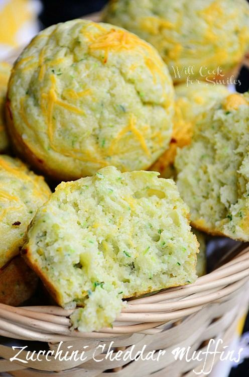 These Zucchini Cheddar Muffins are so soft, moist and flavorful, you can't just have one! willcookforsmiles.com #muffin