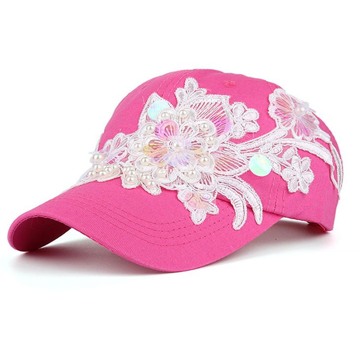 Charlee Cooper Hot Pink Flower Embroidered Baseball Cap